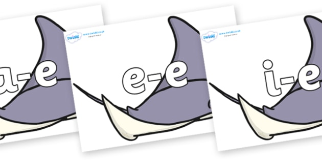 Modifying E Letters on Manta Rays - Modifying E, letters, modify, Phase 5, Phase five, alternative spellings for phonemes, DfES letters and Sounds