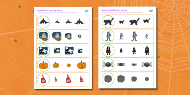 Halloween Size Matching Worksheets - halloween, size, match