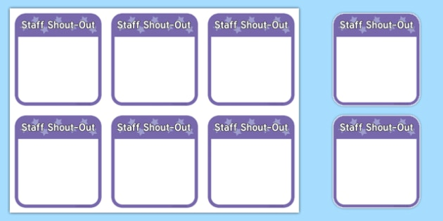 Staff Shout-Out Editable Notes