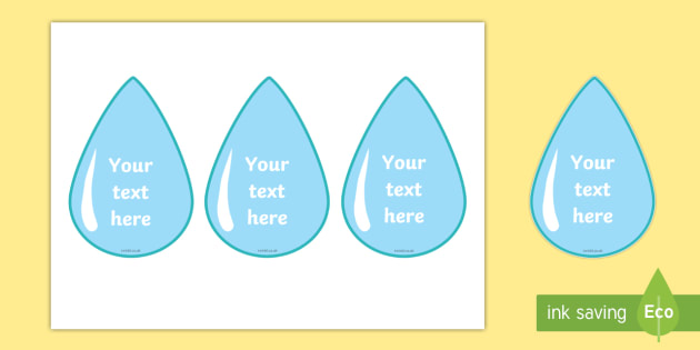 Editable Display Water Droplets - Water area, Editable Labels, KS1 Labels, Foundation Labels, Foundation Stage Labels, Teaching Labels, Resource Labels, Tray Labels, Printable labels, drop, droplet, water play, water, water display, splash, drop, dri