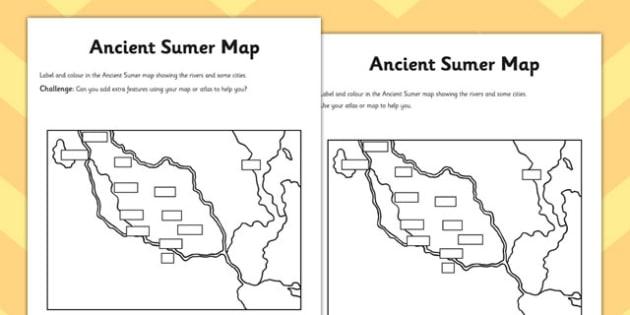 Ancient Sumer Location and Era Map Activity - sumer, map activity