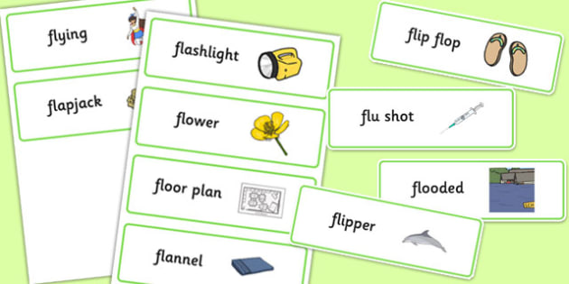 Two Syllable FL Word Cards - sen, sound, special educational needs, fl, word cards