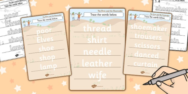 The Elves and the Shoemaker Trace the Words Worksheet - trace