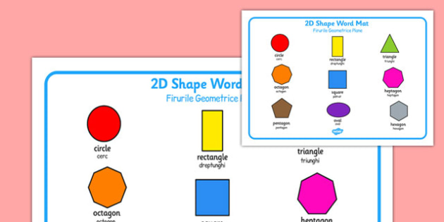 2D Shape Word Mat Romanian Translation - romanian, 2d shape, word mat, 2d, shape, word, mat