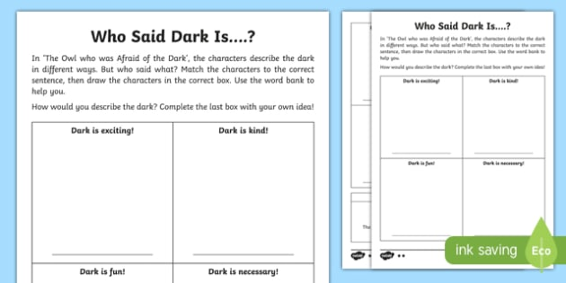 Who Said Dark Is...? Differentiated Activity Sheet Pack-Scottish, worksheet