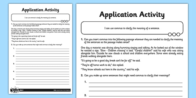 Using Commas to Clarify Meaning Application Activity Sheet - GPS, commas, clarify, ambiguity, change meaning, ks2, key stage 2, year 5, year 6, worksheet