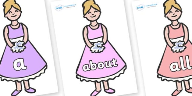100 High Frequency Words on Bridesmaids - High frequency words, hfw, DfES Letters and Sounds, Letters and Sounds, display words