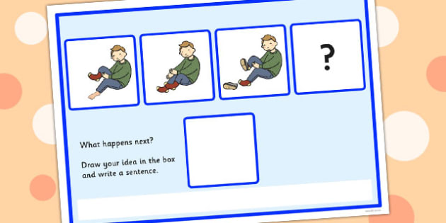 What Happens Next Fill in the Blank Worksheet for 'Putting on Shoes' - what, happens, next, shoes