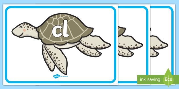 Initial Letter Blends on Turtles - Initial Letters, initial letter, letter blend, letter blends, consonant, consonants, digraph, trigraph, literacy, alphabet, letters, foundation stage literacy