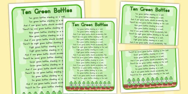 Ten Green Bottles Nursery Rhyme Poster - australia, rhyme, poster