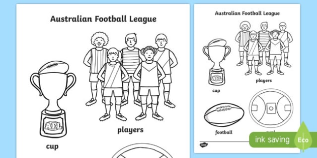 Australian Football League Colouring Sheets - AFL, motor skills