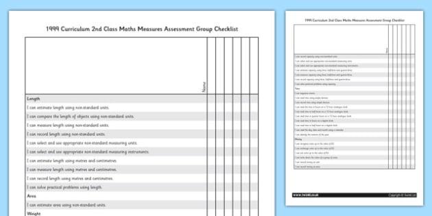 1999 Curriculum 2nd Class Maths Measures Assessment Group Checklist - roi, irish, republic of ireland