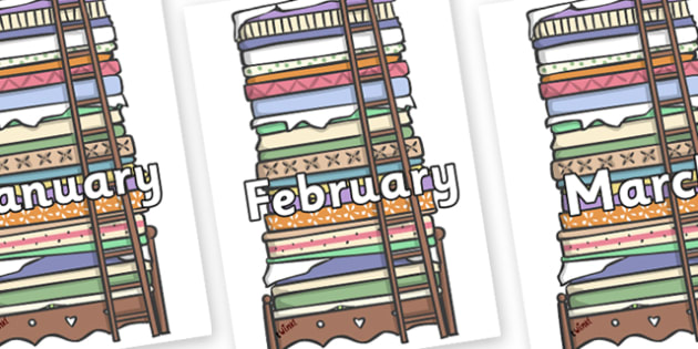 Months of the Year on Beds - Months of the Year, Months poster, Months display, display, poster, frieze, Months, month, January, February, March, April, May, June, July, August, September