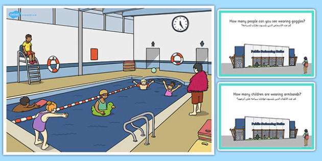 Swimming Pool Scene and Question Cards Arabic Translation - arabic, question, cards, scene