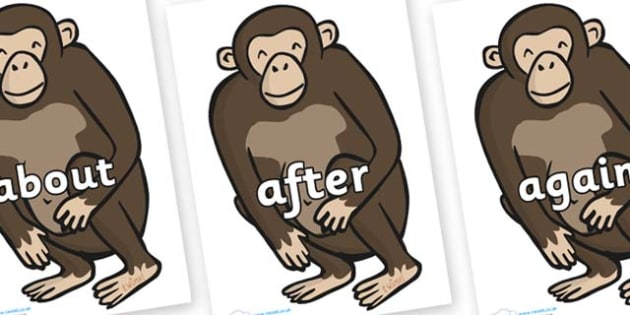 KS1 Keywords on Chimps - KS1, CLL, Communication language and literacy, Display, Key words, high frequency words, foundation stage literacy, DfES Letters and Sounds, Letters and Sounds, spelling