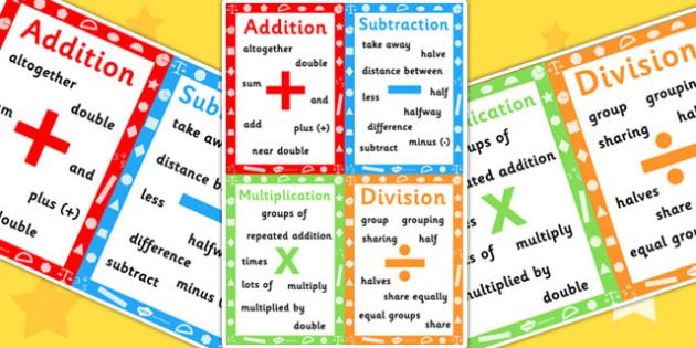 Key Stage 1 Numeracy Vocabulary A3 Poster - Numeracy, Vocabulary