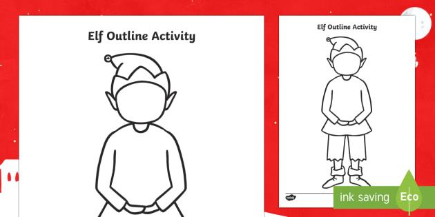 Elf Outline Activity Sheet -  elf, christmas, xmas, worksheet