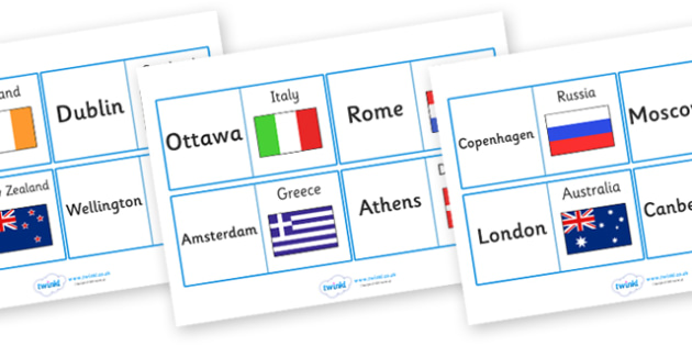 Capital Cities Looping Activity - capital, capital cities, capitals, world, activity, game, looping, matching, cities, geography