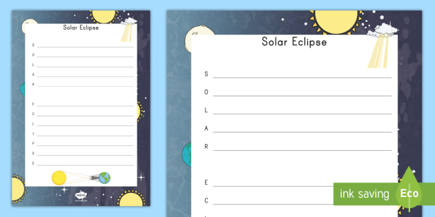 Solar Eclipse Acrostic Poem - sun, moon, science, great american eclipse, space