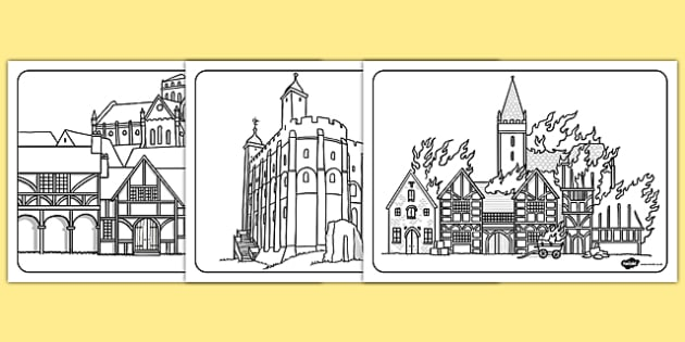 The Great Fire of London Medieval Houses Colouring Sheets - Fire