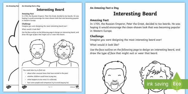Interesting Beard Activity Sheet - Amazing Fact Of The Day, activity sheets, powerpoint, starter, morning activity, December , beards,