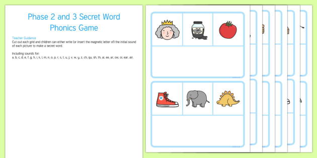 Secret Word Phonics Game Phase 2 and 3 - secret word, phonics game, phonics, game, phase 2, phase 3