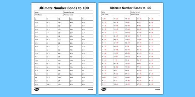Ultimate Number Bond to 100 Activity Sheet, worksheet