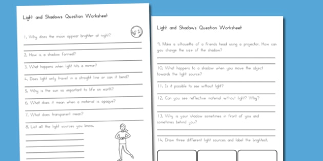 Light and Shadows Question Worksheet - australia, light, shadows
