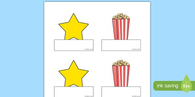 Movie Star Themed Self-Registration Labels