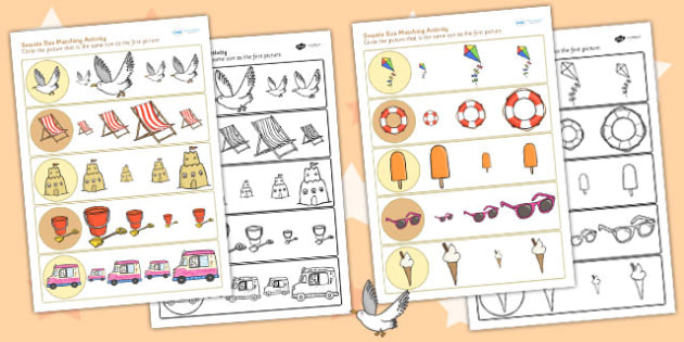 Seaside Themed Differentiated Size Matching Worksheet - sea side