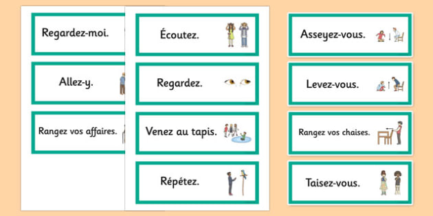 French Classroom Word Cards - french, word, cards, classroom