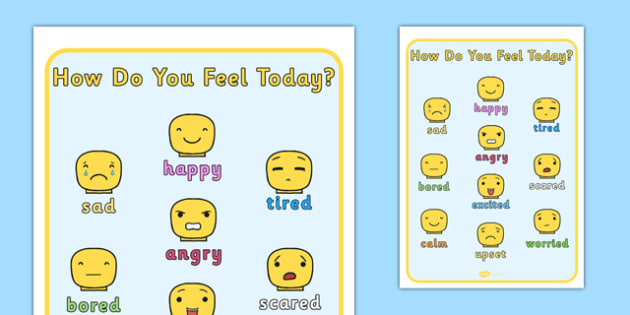 How Do You Feel Today Building Block People Emotions Chart - feel