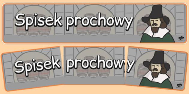 Banner na gazetkę ścienną Spisek prochowy po polsku - historia