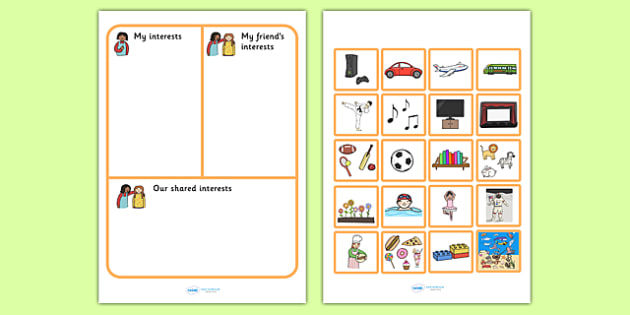 My Interests And My Friends Interests Activity Sheet - SEN , worksheet