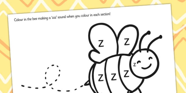 Initial z Sound Production Colouring Sheet - initial z, sounds