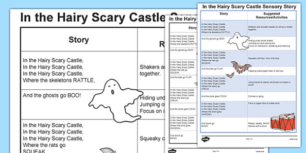In the Hairy Scary Castle Sensory Story - in the hairy scary castle, in the hairy scary castle sensory plan, sensory lesson ideas, sen, sensory lesson plan