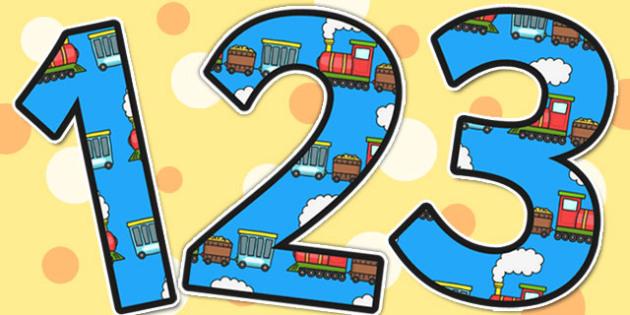 Trains Themed Display Numbers - trains, display numbers, number