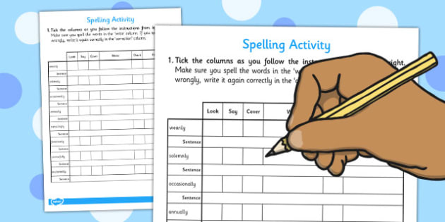 Adverbs Look Say Cover Write Check Correct Spell Sentence Writing