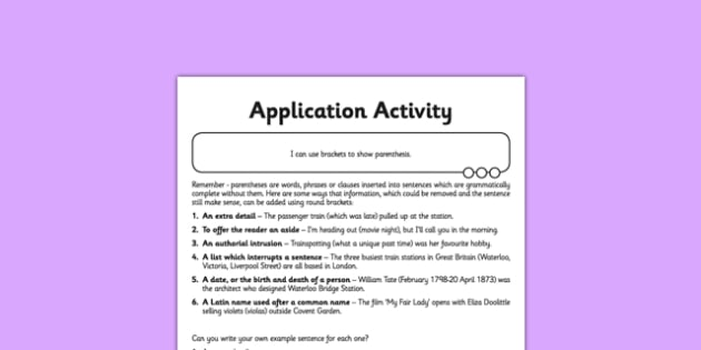 Brackets Application Activity Sheet - GPS, spelling, grammar, parenthesis, worksheet