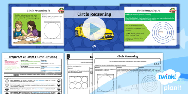 PlanIt Y6 - Properties of Shapes: Parts of a Circle (3)  - Properties of Shape, reasoning, 2D shape, 3D shape, shape nets, triangles, polygons, quadrilaterals,