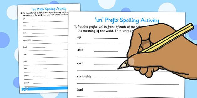 Prefix 'un-' Spelling Activity - prefix, spelling, activity, un