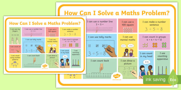 Solving Maths Problems Strategy A3 Poster - addition, subtraction, add, take away, problem solving, display, maths, numeracy