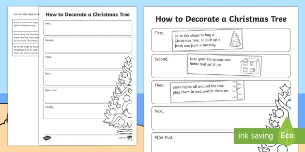 Christmas How to Decorate a Christmas Tree Sequencing Activity Sheet