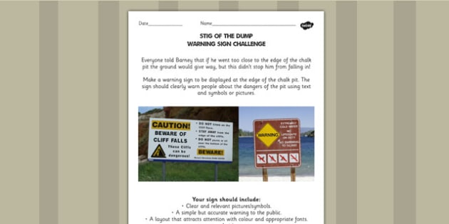 Stig of the Dump Warning Sign Challenge Activity - stig, activity