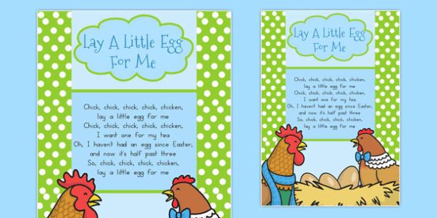 Lay a Little Egg for Me Lyrics Sheet - australia, easter, lyrics
