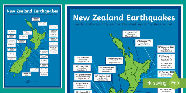 New Zealand Large Earthquakes Map - New Zealand Natural Disasters, earthquake, tsunami, volcano, monsoon, hurricane, flood, tornado