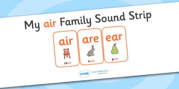 My AIR Sound Family Strip - Sound family, AIR, alternate spellings, alternate spellings for phonemes, family, sounds, phoneme, phonemes