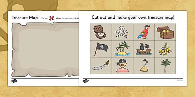 Treasure Map Design Activity - Worksheets, Pirate, Pirates, Topic, cutting, fine motor skills, activity,  pirate, pirates, treasure, ship, jolly roger, ship, island, ocean