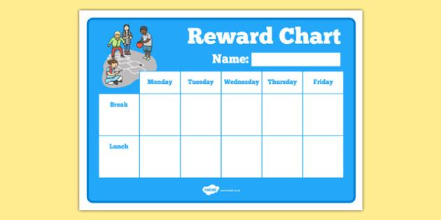 Break Time Lunch Time Reward Chart - break time, lunch time, reward chart, reward, chart
