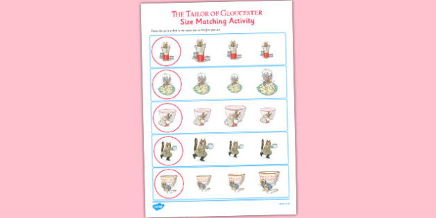 The Tailor of Gloucester Size Matching Worksheets - tailor, gloucester